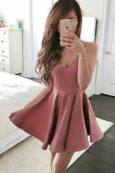 Pink Prom Dresses #PinkPromDresses, Cute Prom Dresses #CutePromDresses, A-Line Prom Dresses #ALinePromDresses, Blush Prom Dresses #BlushPromDresses