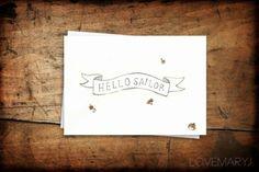 Hello Sailor by Love Mary J Mary J, Surface Design, Typo, Sailor, Love, Illustration, Amor, Illustrations, El Amor