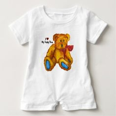 I Love My Teddy Bear Baby Romper - red gifts color style cyo diy personalize unique
