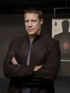 Mark Valley - from stuffed shirt but handsome attorney in Boston Legal, to charismatic hottie in Human Target, to ruggedly handsome and dangerous in Body of Proof.