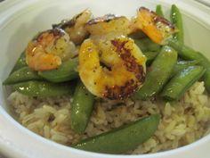 Lime grilled shrimp over rice