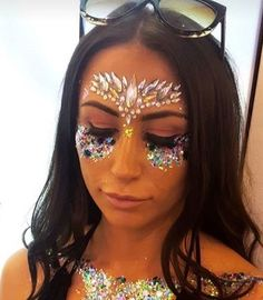 Glamorous Handmade Masquerade, Jewelries & Accessories by Glamorousgala Unicorn Princess, Face Jewellery, Diamond Face, Face Jewels, Face Stickers, Rave Outfits, Masquerade, Eye Makeup, Sunglasses Women