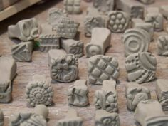 bisque stamps for pottery, polymer, PMC, play doh, fondant and more....