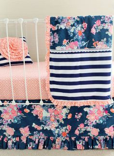 Baby girl bedding - Coral and Navy Baby Girl Bedding, Stripe and Floral Chic, Coral and Navy Nursery, Bumperless crib be