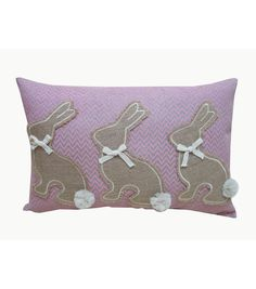 Easter Burlap Silhouette Bunny Pillow-Pink