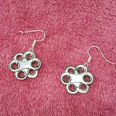 """Upcycled bicycle chain earrings """"Freya's spring flowers"""""""