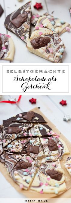 Selbstgemachte Schokolade im Glas zum Verschenken