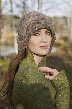"""Купить Ушанка из коллекции """"Огонь-баба"""" - коричневый, однотонный, валяные шапки, ушанка из войлока, флис"""