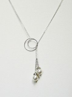 Lariat necklace Pearl Pendant Sterling Silver Jewelry Graduation Necklace Birthday Jewelry Gift via Etsy