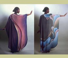 Ina Kozel: Hand dyed fabric: Acid dyes and wax resist on silk to create fabric for Caftans