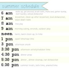 this is a summer strict scheduale