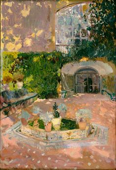 A Courtyard Garden, Sorolla Spanish Painters, Spanish Artists, Abstract Landscape, Landscape Paintings, Art Espagnole, Amazing Paintings, Garden Painting, Land Scape, Watercolor Paintings
