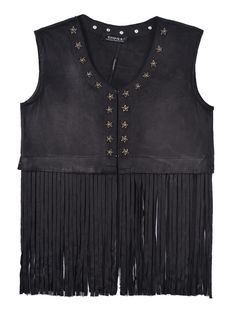 Black Faux Chamois Leather Tassel Waistcoat With Star Detail | Choies