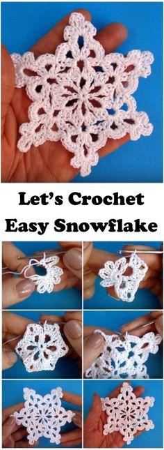 Crochet Motif Learn To Crochet Snowflake - Easy To Crochet Snowflake Knit Christmas Ornaments, Crochet Christmas Gifts, Crochet Christmas Decorations, Crochet Ornaments, Christmas Crochet Patterns, Holiday Crochet, Christmas Knitting, Crochet Gifts, Christmas Snowflakes
