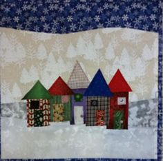 Christmas Row Houses Quilt Pattern FREE-157e (advanced beginner, free)