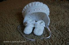 crochet bonnet and booties set for Baby