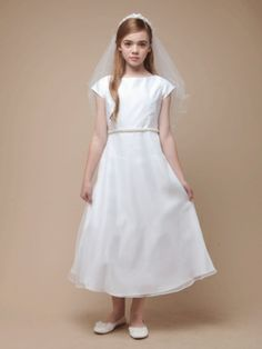 Pearl Belt Satin and Organza A-Line Communion Dress - First Communion Dresses