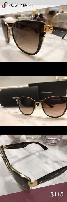 Dolce Gabanna sunglasses cateye-Havana w box& case Cool girl sunglasses , cat eye shaped, medium brown havanna style with gold accent. Barely used, have original receipt from sunglasses hut and box and case. Dolce & Gabbana Accessories Sunglasses