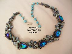September sale many items reduced from 20 to 60% off Visit my Ruby Plaza Shop Link on home page     Rare Florenza blue purple watermelon simulated turquoise rhinestone from vintageshari on Ruby Lane