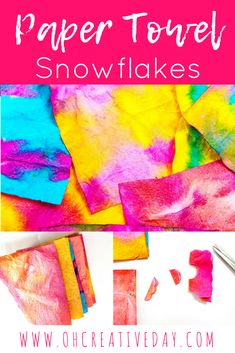 A simple art and craft project for kids involving paper towel and food colouring to create cut out snowflakes. Easter Arts And Crafts, Christmas Crafts For Kids To Make, Crafts For Girls, Kids Crafts, Creative Activities For Kids, Craft Projects For Kids, Arts And Crafts Projects, Paper Towel Crafts, Cardboard Crafts