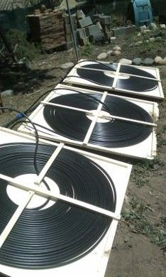 Diy 1 hour solar pool heater instructables pinterest solar one view of the diy solar pool heater panels in place solutioingenieria Image collections