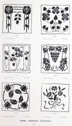 "Gibson Cushion Stencils offered in ""A Practical Guide to Stencilling"" by Frank Gibson (1913)."
