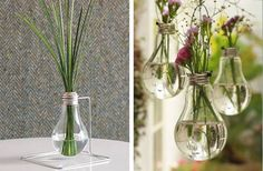 Upcycling Deco ideas with old used objects Bulb Flowers, Diy Flowers, Coffe Shop Decoration, Simple Furniture, Diy Furniture, Light Bulb Vase, Gypsy Home, Boho Gypsy, Recycled Decor