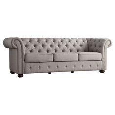 Curl up with a plush throw and your favorite mystery novel in this Chesterfield-style sofa, perfect for entertaining your book club or catching up on sewing ...