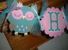 Owl Birthday Banner Pink and Teal Owl Happy Birthday Matching Pom Poms Available