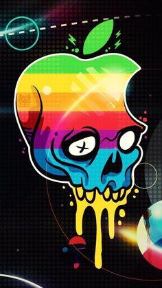 Apple Logo Skull, Wallpaper for iPhone Wallpapers Android, Graffiti Wallpaper Iphone, Apple Logo Wallpaper Iphone, Wallpaper Keren, Apple Wallpaper Iphone, Skull Wallpaper, Wallpaper Desktop, Iphone Backgrounds, Mobile Wallpaper