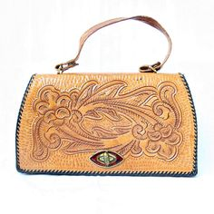 vintage hand TOOLED LEATHER floral BOHO top purse by PasseNouveauVintage, $27.00