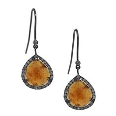 Sterling Silver Mandarin Garnet and 5/8ct TDW Diamond Earrings