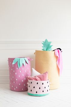 DIY Storage Baskets - Fruit Inspired Storage Baskets - Cheap and Easy Ideas for Getting Organized - Creative Home Decor on A Budget - Farmhouse, Modern and Rustic Basket Projects Basket Organization, Home Organization, Organizing, Diy Storage, Storage Baskets, Fruit Storage, Storage Ideas, Diy Home, Home Decor