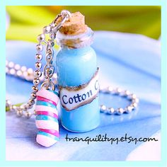 Liquid Blue Cotton Candy Bottle Necklace 2ml Vial by tranquilityy