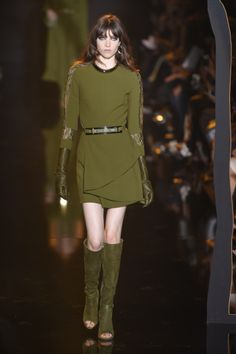 Open-toe green suede boots at Elie Saab RTW Fall 2015. Elie Saab updated the tall boot with an open toe in earthy green suede. It was a welcome departure from more obvious stilettos and booties.