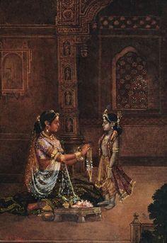 Artwork of Yashoda and Krishna by BC Law, 1914.
