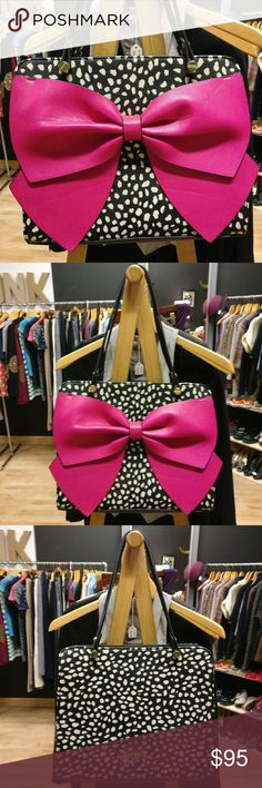 Betsey Johnson New Handbag Huge Pink Bow ?? Betsey Johnson New Handbag Huge Pink Bow ?? New, never used, no tags. Inside logo still has protective film on it.  Adorable gold, details and hardware you can expect to find on a Betsey Johnson bag. Betsey Johnson Bags