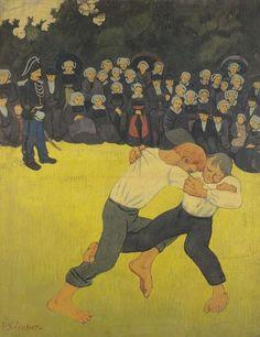 'La lutte bretonne', huile sur toile de Paul Serusier (1864-1927, France) - 1890