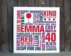 Personalised-40th-birthday-word-art-canvas Birthday Words, 40th Birthday, Birthday Typography, Typography Prints, Word Art, Canvas Art Prints, Cricut, Cool Stuff, Projects