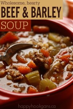 Homemade Beef and Barley Soup Recipe: for the crockpot OR the stove-top! Thick, hearty, easy and delicious. This is one of my family's FAVOURITES! Soooo good! - Happy Hooligans