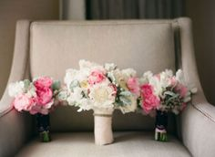 Ivory and pink wedding bouquets with dusty miller // OneWed