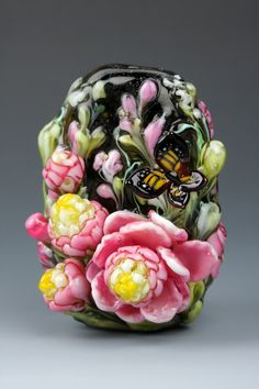 Dolly Ahles Lampworked glass Summer Blossom bead