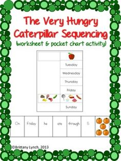 The Very Hungry Caterpillar Sequencing - cut/paste worksheet & cards to use in a pocket chart.