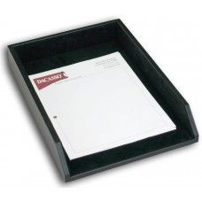 Desk Supplies> Desk Set / Conference Room Set >Organizers: Black Leather Legal Letter Tray