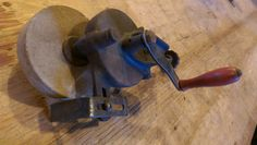 Antique Vintage Clamp Style Grinding Wheel Bench Top Hand Crank Grinder by VintageRelics802 on Etsy