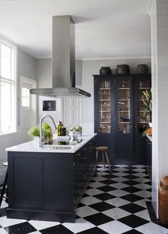 Black and white kitchen, lovely floor.