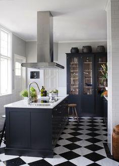 Black and white kitchen, lovely floor.