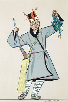 Poleszuk (inhabitant of Polesia) by Zofia Stryjeńska Folk Clothing, Great Paintings, Elements Of Design, Fairy Tales, Poland, Costumes, Manga, Black And White, Chess