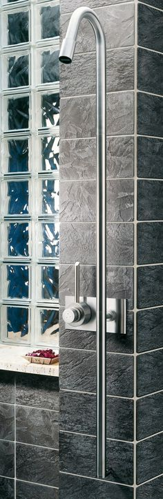 Wall-mounted thermostatic stainless steel shower panel CB401 | Shower panel - @mgsmilano