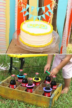 The bottle ring toss game would be so much cuter with vintage Coke bottles! Plus the tiny bunting on the cake is adorable!